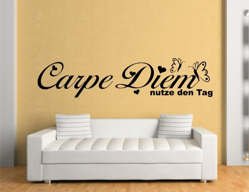 wandtattoo carpe diem genie e nutze den tag. Black Bedroom Furniture Sets. Home Design Ideas