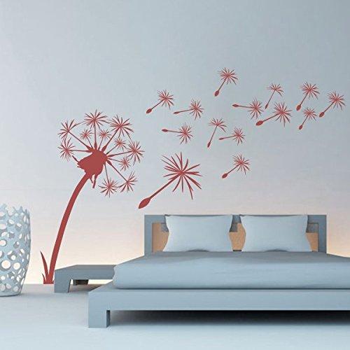 Wandtattoo pusteblume mit schmetterling oder v gel - Wand hellgrau ...