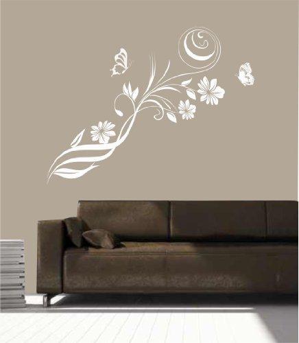 greenluup ökologisches Wandtattoo in Weiß Blumen Blumenranke Ranke