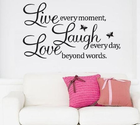 homeking Co. /, 70 50, Schriftzug 'Live every moment Laugh every day beyond words.' mit 2 Schmetterlingen,