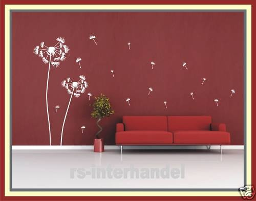 wandtattoo pusteblume 2er set ca 120 cm und 160 cm weiss. Black Bedroom Furniture Sets. Home Design Ideas