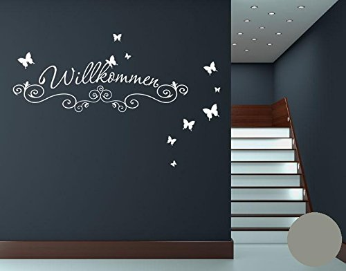 wandtattoo herzlich willkommen welcome. Black Bedroom Furniture Sets. Home Design Ideas