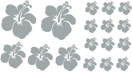 Wandtattoo Silber Blumen : XL Design Set F in Silber 17 Stück HIBISKUS Blüten Wandtattoo Blumen