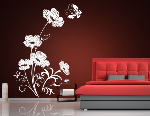 wandtattoo blumenranke mit oder ohne schmetterling oder vogel. Black Bedroom Furniture Sets. Home Design Ideas