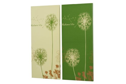 bild wohnzimmer grün:Bild Pusteblume grün, Holz/Textil, 60 x 25 cm, Wanddekoration