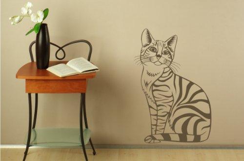 wohnzimmer zeichnung:Wandtattoo für's Wohnzimmer Katze Motiv-Nr. 13039 Farbe: schokobraun