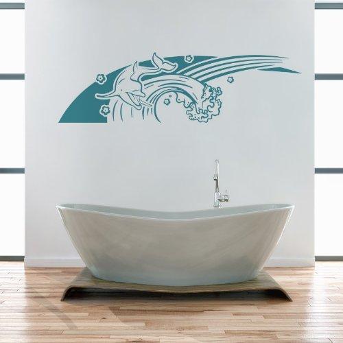 ... auf der Welle im Meer Badezimmer B97cm x H28cm gespiegelt azurblau 052