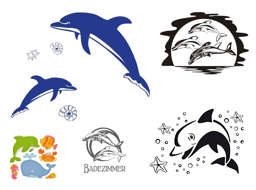 Wandtattoo Delfin für Bad oder Kinderzimmer