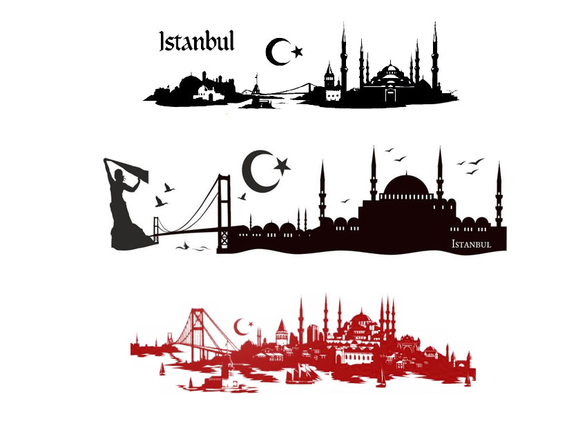 wandtattoo istanbul skyline pictures to pin on pinterest. Black Bedroom Furniture Sets. Home Design Ideas