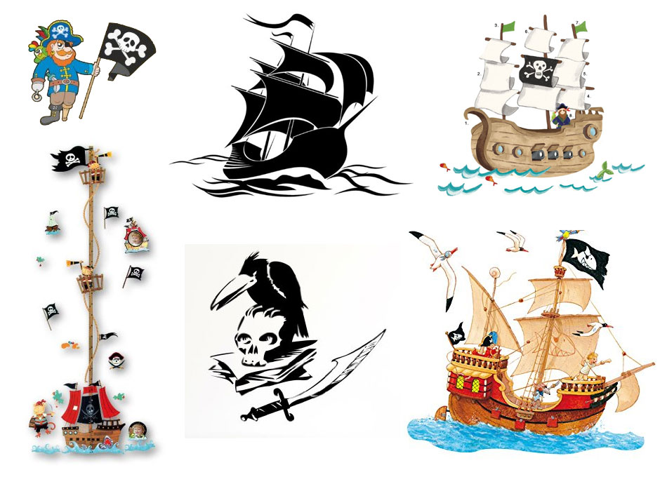 Wandtattoo pirat auf piratenschiff f rs kinderzimmer - Wandmotive kinderzimmer ...
